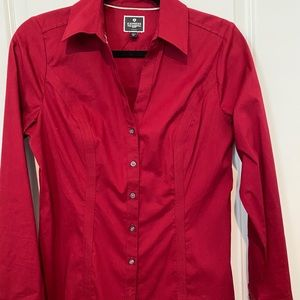 Red V-Neck Button Down